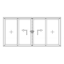 Porte coulissante à élévation 4 vantaux